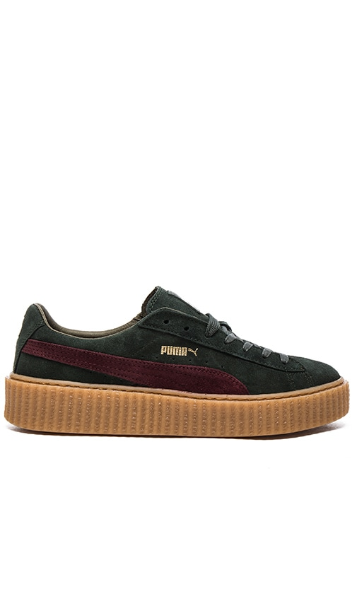 release date: 131ba 6ab48 Puma Select x Rihanna Suede Creepers U in Green & Bordeaux ...
