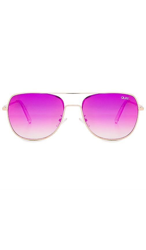 Quay Running Riot Sunglasses in Gold   Pink Mirror   REVOLVE 895450ee61