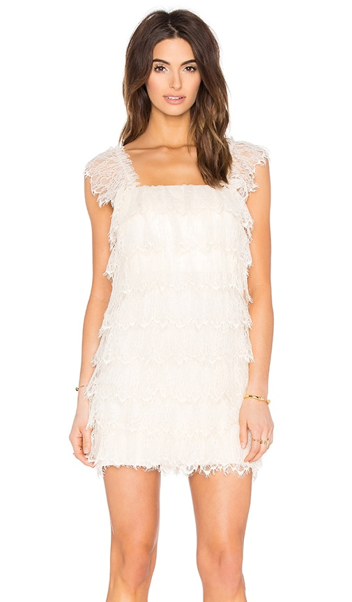 Queen & Pawn Lola Lace Ruffle Mini Dress in Ivory