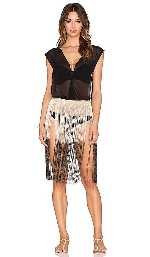 Queen & Pawn Silk Metallic Fringed Cover Up in Black