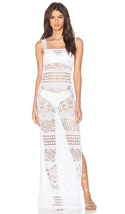Queen & Pawn Long Lace Dress in White