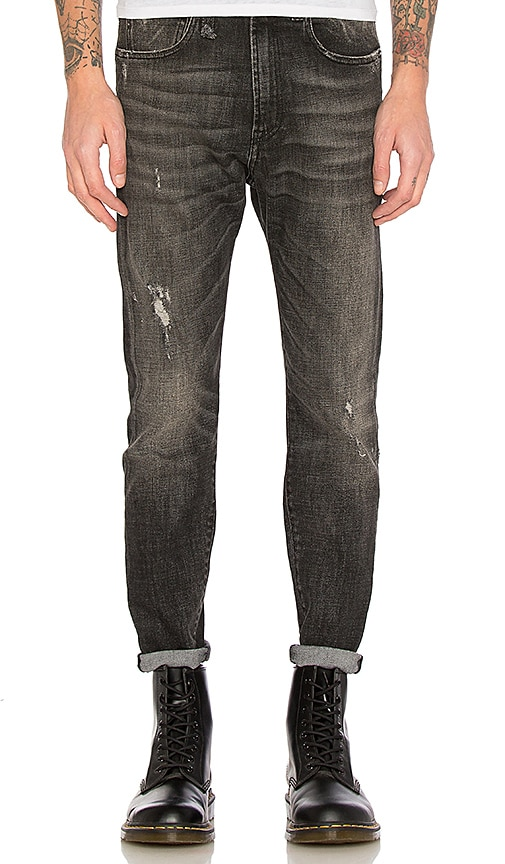 R13 Drop Jean in Washed Black Mended