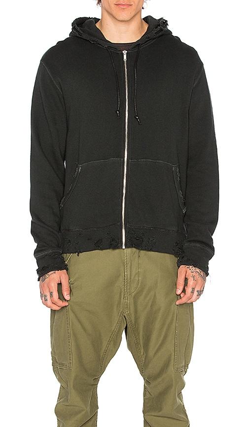 R13 Vintage Zip Up Hoodie in Black