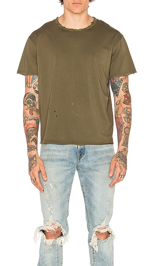 R13 Surplus Destroyed Tee in Olive