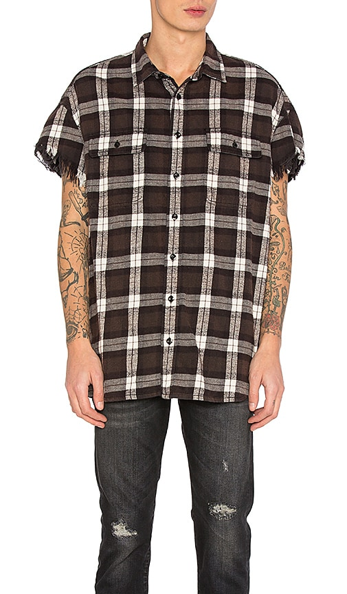 R13 Oversized Cut Off Shirt in Black