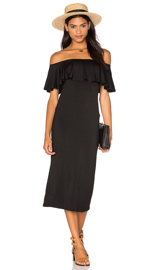 Rachel Pally Ruffle Midi Dress in Black