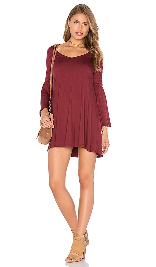 Rachel Pally Flutter Sleeve Mini Dress in Burgundy