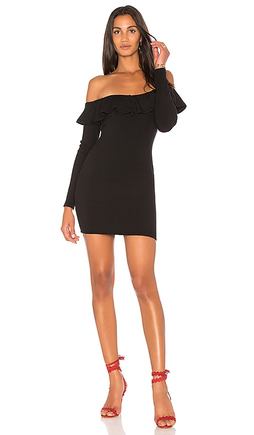 Rachel Pally Luxe Rib Ruffle Dress in Black