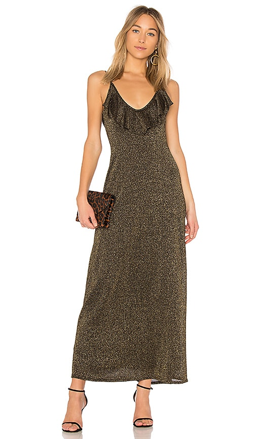 Rachel Pally Fia Sweater Slip Dress in Metallic Gold