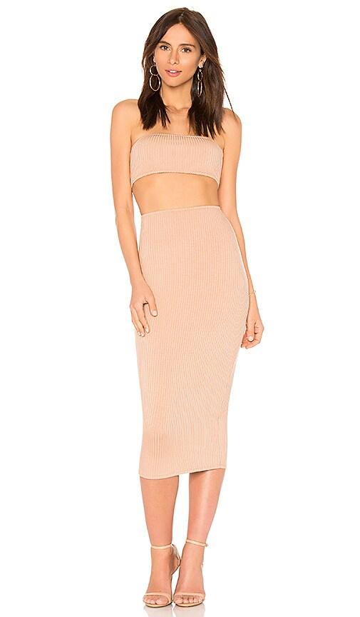 Rachel Pally Rib Bandeau Skirt Set in Tan
