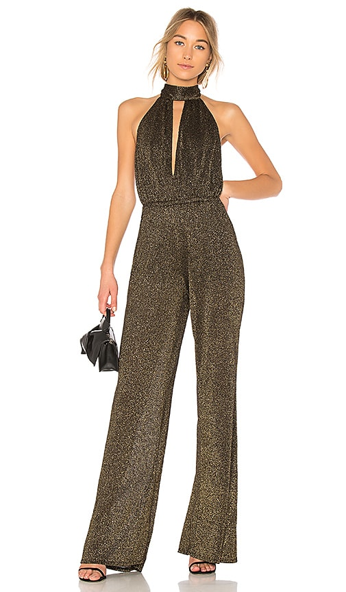 d1803c11664 Rachel Pally Halter Split Front Sweater Jumpsuit in Black   Gold ...