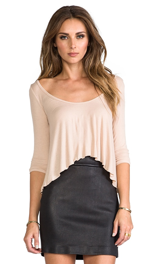 Rib 3/4 Sleeve Cropped Top