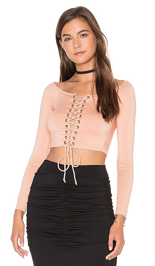 Rachel Pally Lace Up Cunningham Top in Peach