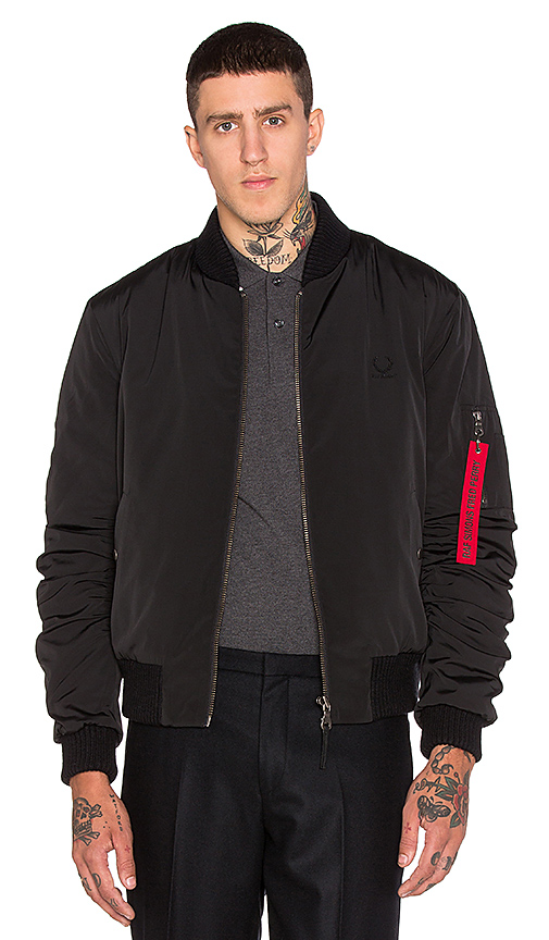 c8a04298 Fred Perry x Raf Simons Quilted Bomber Jacket in Soho Black | REVOLVE