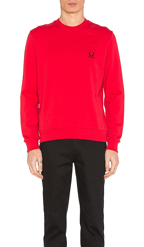 Fred Perry x Raf Simons Denim Pocket Sweatshirt in Red