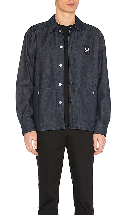 Fred Perry x Raf Simons Denim Shirt Jacket in Dark Indigo