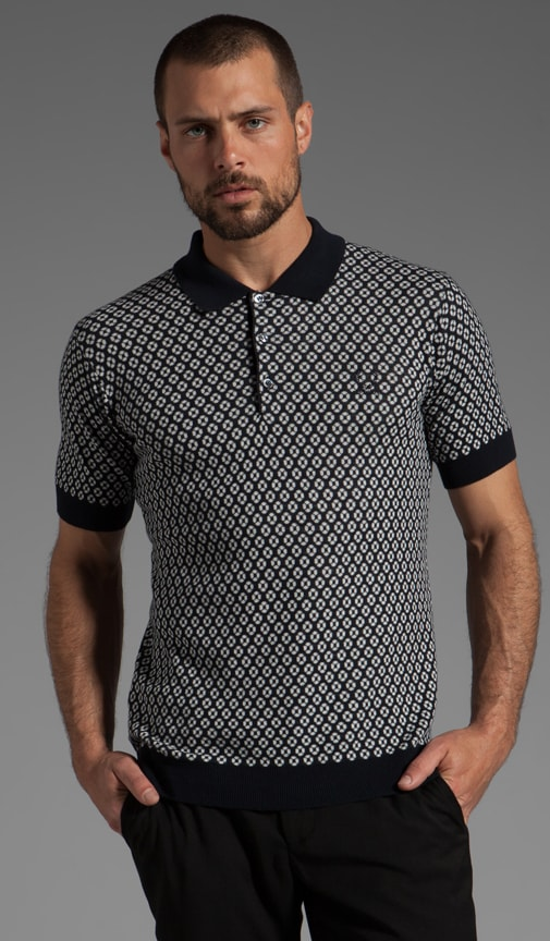 Knitted Jacquard Fred Perry Shirt Polo