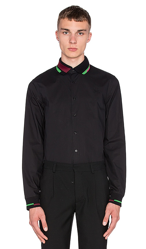 Fred Perry x Raf Simons Long Sleeve Ribbed Collar and Cuff Shirt in Black