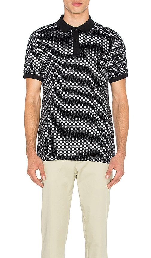 Fred Perry x Raf Simons Square Jacquard Pique Shirt in Black & White