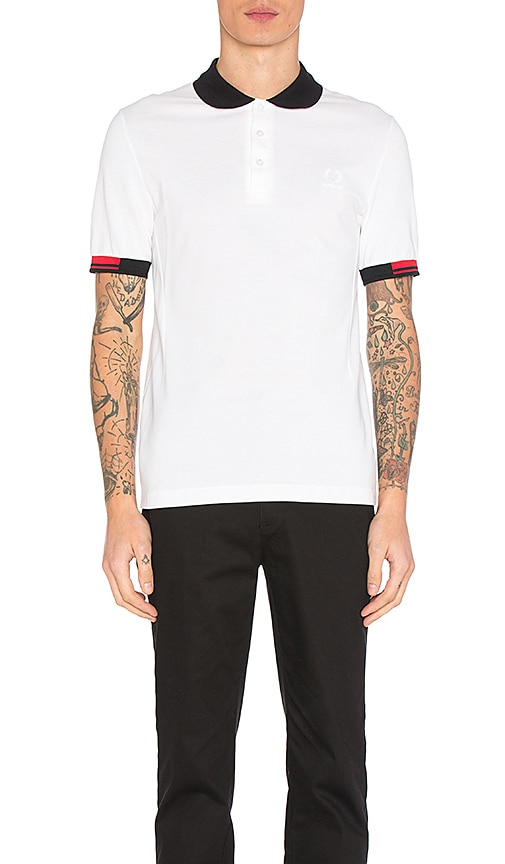 Fred Perry x Raf Simons Tipped Cuff Pique Polo in White