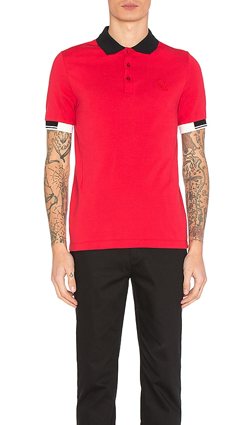 Fred Perry x Raf Simons Tipped Cuff Pique Polo in Red