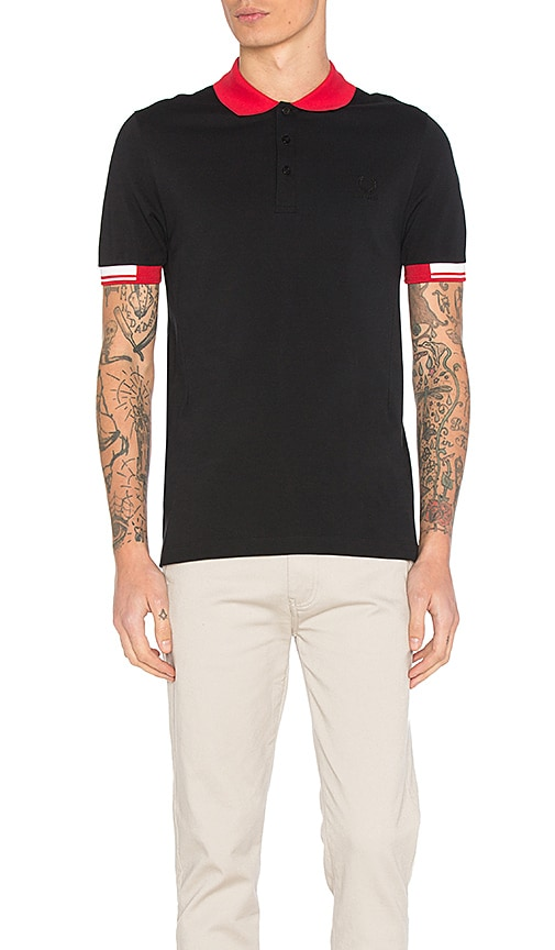 Fred Perry x Raf Simons Tipped Cuff Pique Polo in Black