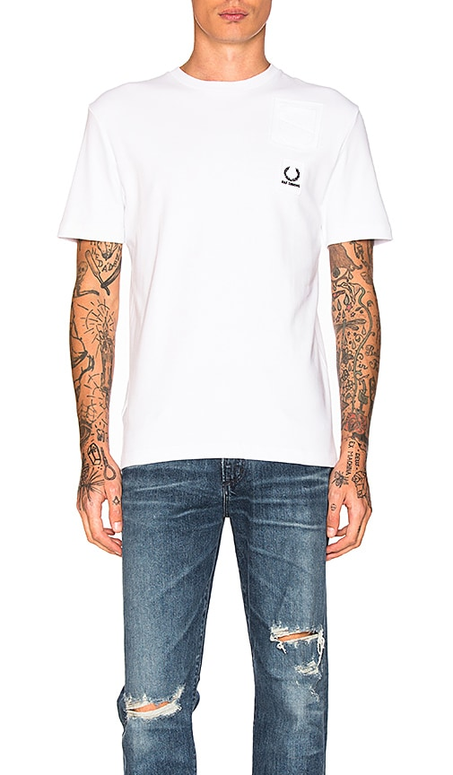 Fred Perry x Raf Simons Denim Pocket Tee in White