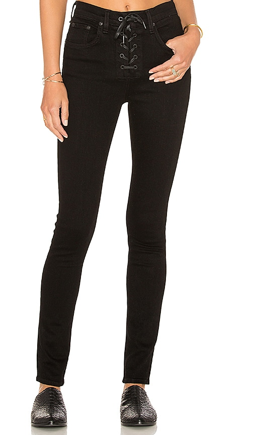 rag & bone/JEAN Lace Up High Rise Skinny in Black Coal