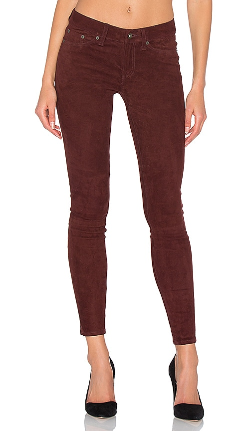 rag & bone/JEAN Skinny Suede Pants in Brown