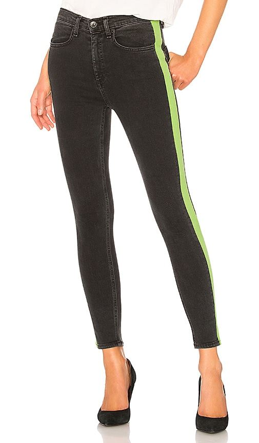 rag & bone/JEAN Mazie Jean in Black & Lime