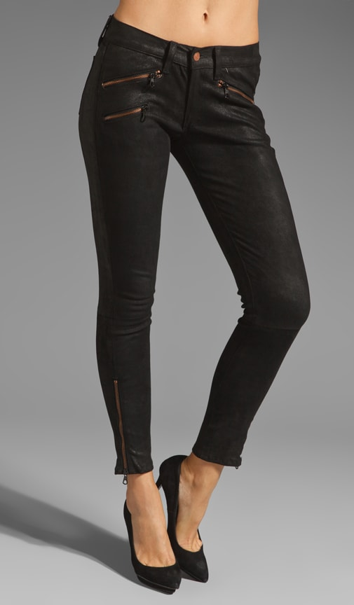 Leather Legging with Exposed Zips