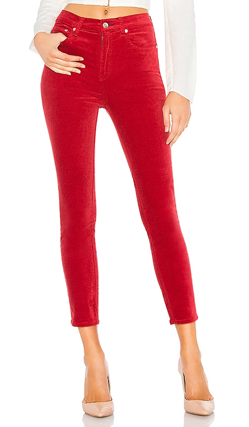rag & bone High Rise Velvet Skinny in Chili Pepper | REVOLVE