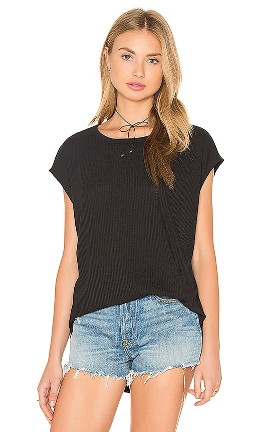 rag & bone/JEAN Highland Drape Back Tee in Black