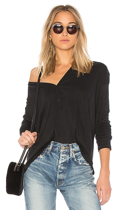 rag & bone/JEAN Dahlia Henley in Black