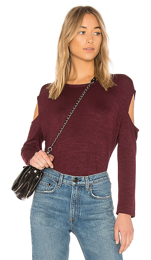 rag & bone/JEAN Slash Long Sleeve Tee in Burgundy