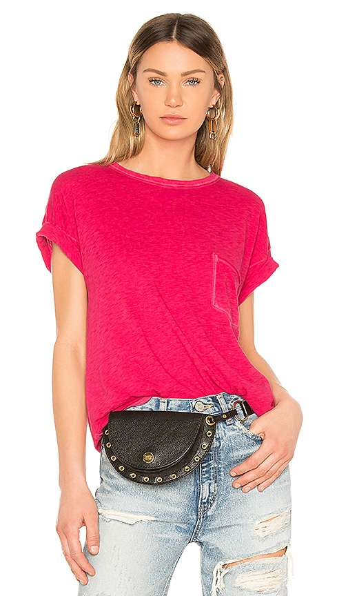 rag & bone/JEAN Vintage Crew Pocket Tee in Fuchsia