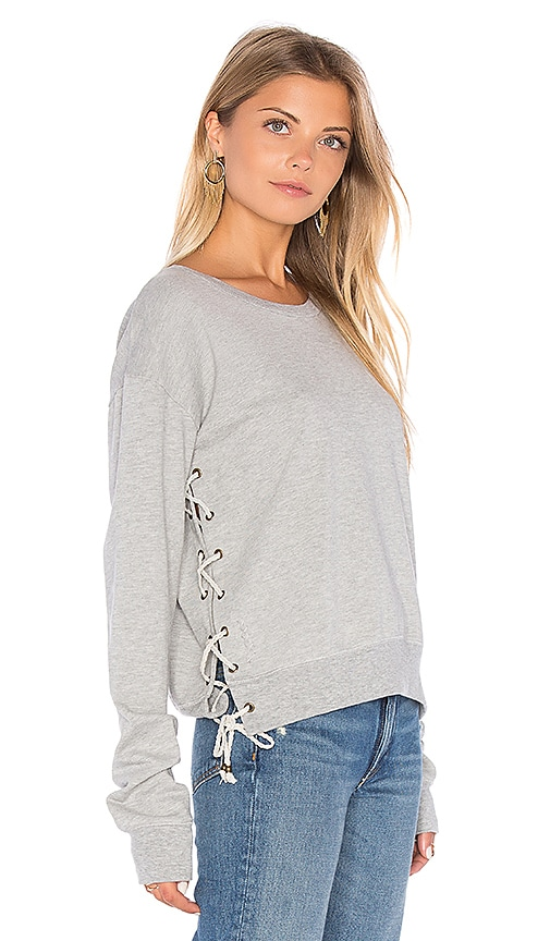 Ragdoll Lace Up Cropped Sweatshirt in Grey