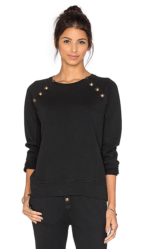 Ragdoll Sweatshirt with Brass Buttons in Black