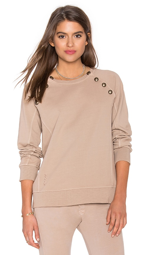 Ragdoll Sweatshirt with Brass Buttons in Beige