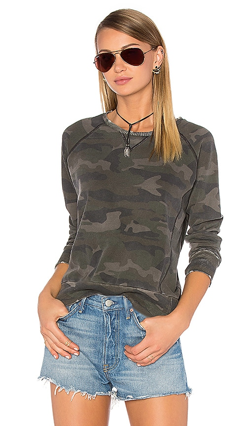 Ragdoll Distressed Camo Sweatshirt in Army