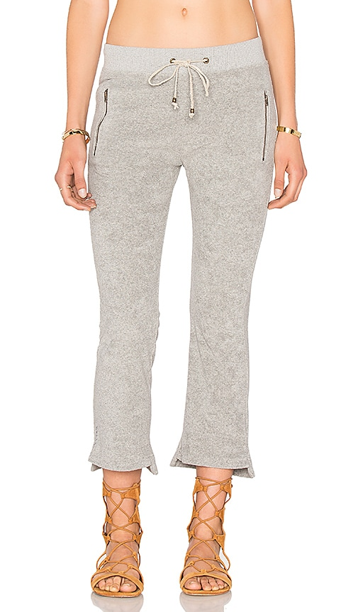 Ragdoll Vintage Terry Cropped Flare Track Pant in Light Grey