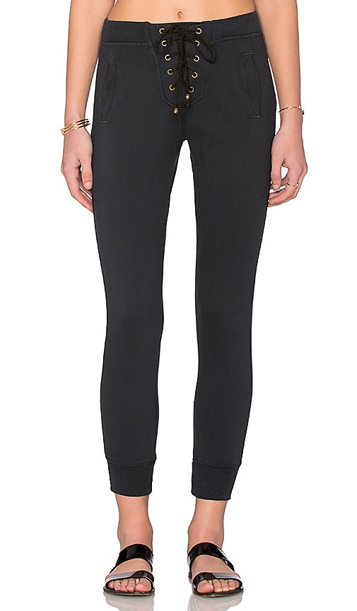 Ragdoll Lace-Up Cropped Pants in Faded Black