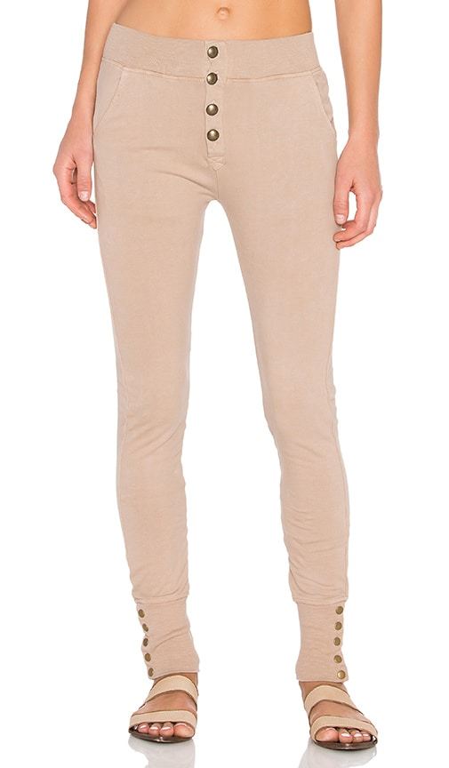 Ragdoll Sweatpant with Brass Buttons in Beige