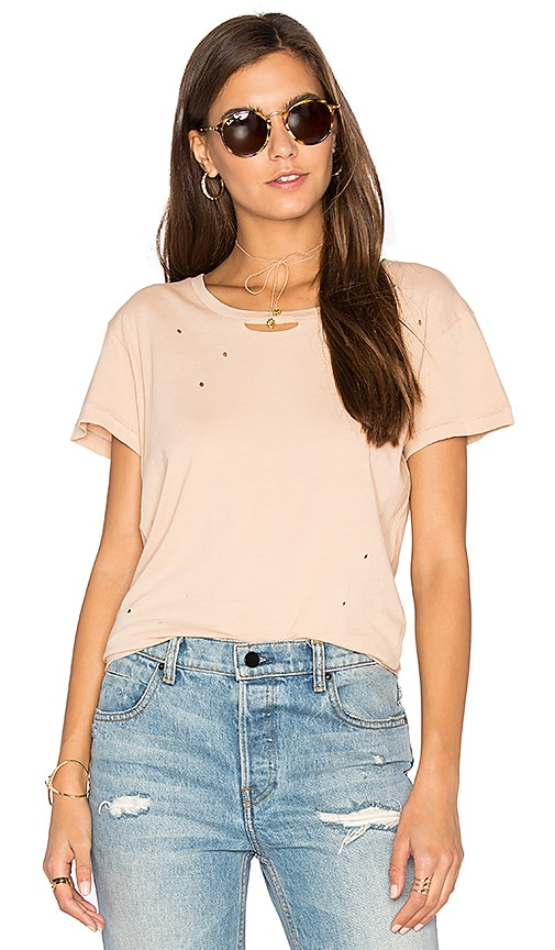 Ragdoll Distressed Vintage Tee in Peach