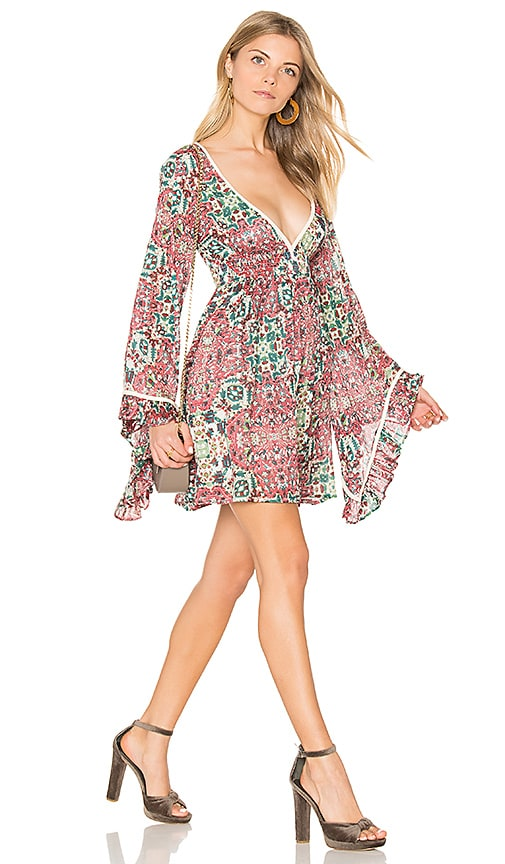Sunset Rose Bell Sleeve Dress