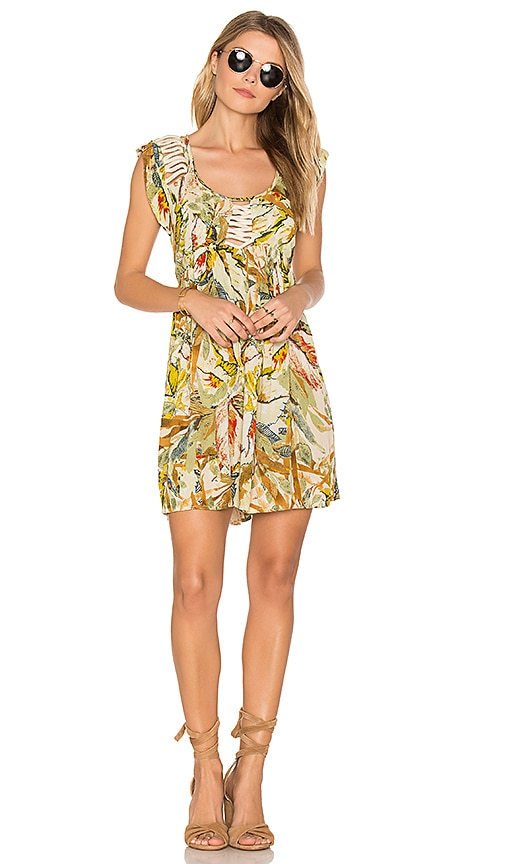 Raga Makki Valley Cap Sleeve Mini Dress in Yellow