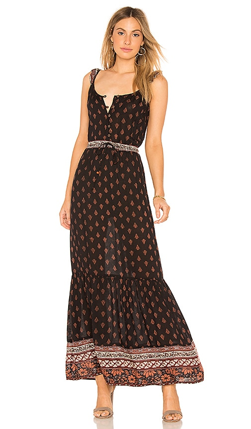 Raga  NOCTURNAL DAZE RUFFLE SLEEVE MAXI IN BLACK