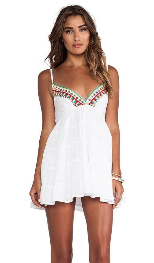 Embroidered V Neck Tank Dress