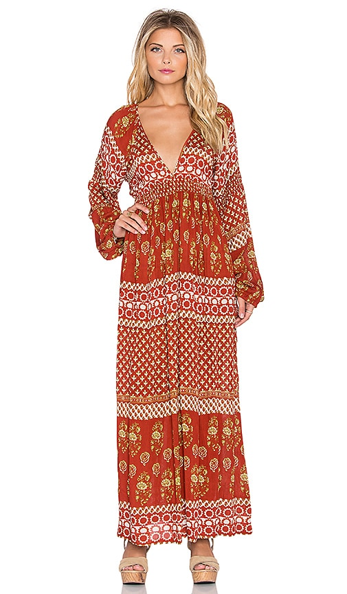 Raga The Remington Plunge Maxi Dress in Rust