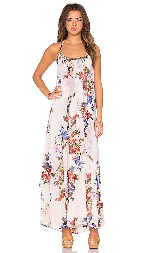 Raga Feeling Floral Halter Dress in Cream